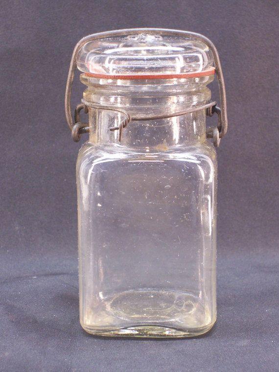 Vintage Hazel Atlas Glass Canning Jar 12 Pint 1930s Wire