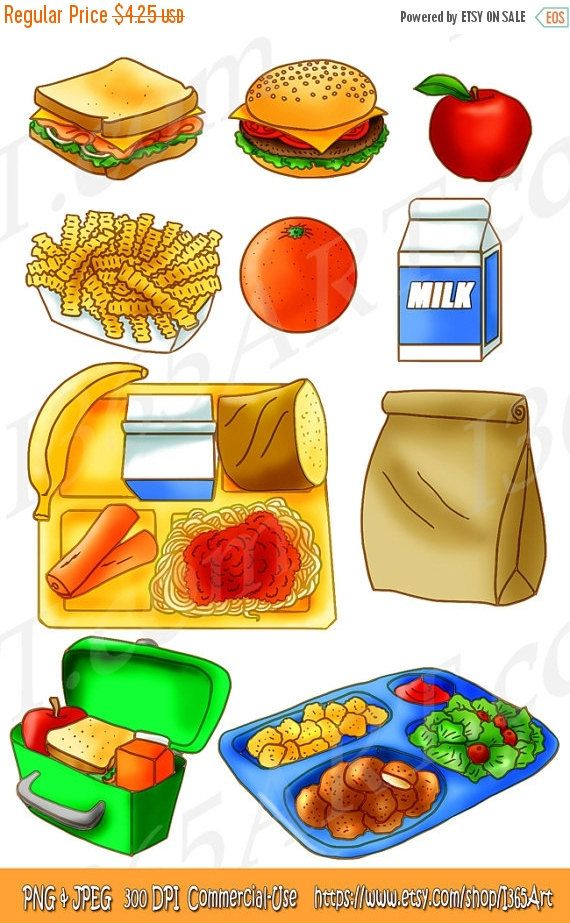 50% OFF Sale School Lunch Clipart Set, Food, Tray, Brown ...