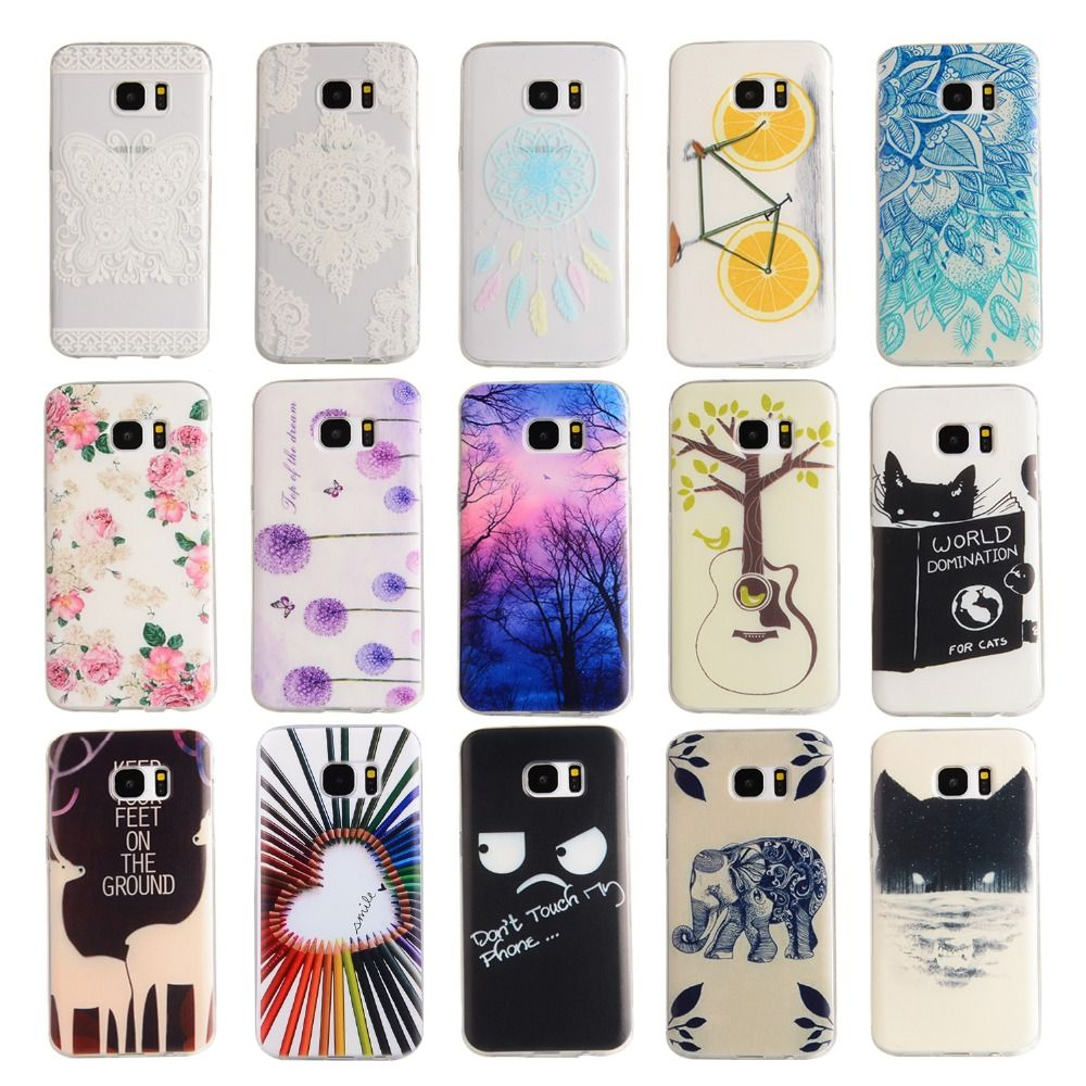 9528fe3c36 For Samsung Galaxy S7 Case Colorful Painted Lovely Girl Soft Silicon  Cartoon Back Cover Shell for