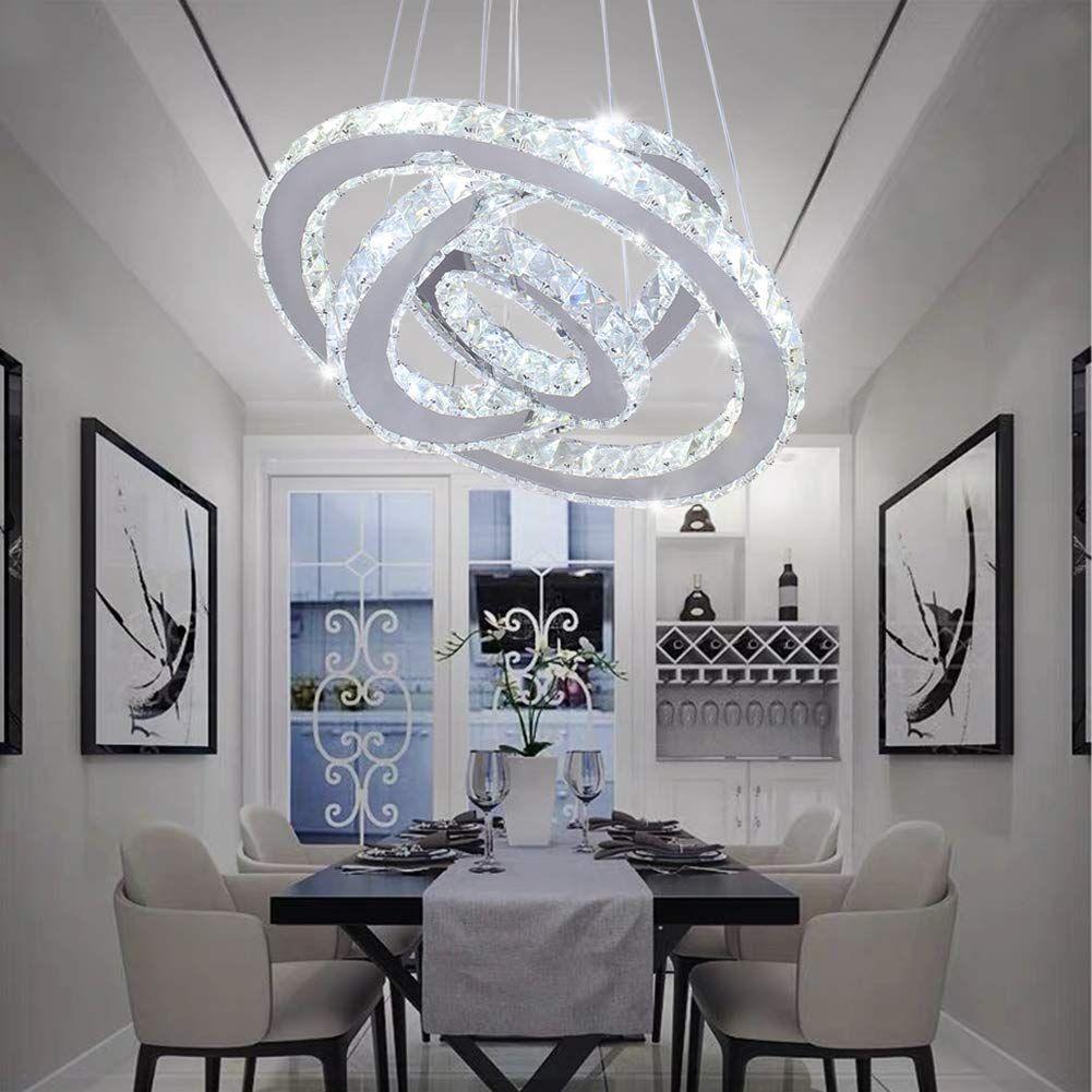 Modern Crystal Chandeliers 3 Rings Led Ceiling Lighting White