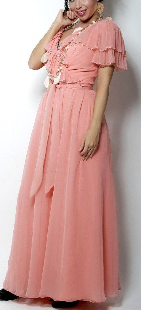 Beautiful Coral/Pink Floor Length Dress 1980s Mint Condition. $35.00 ...