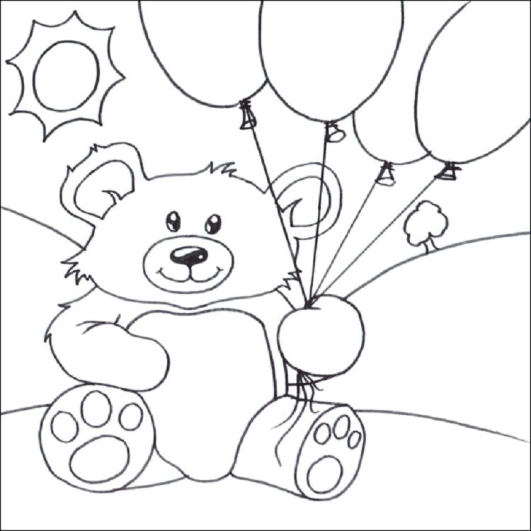 teddy bear with balloons coloring