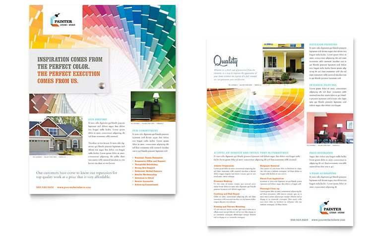 House Painting Contractor Sales Sheet Design | Sell Sheet