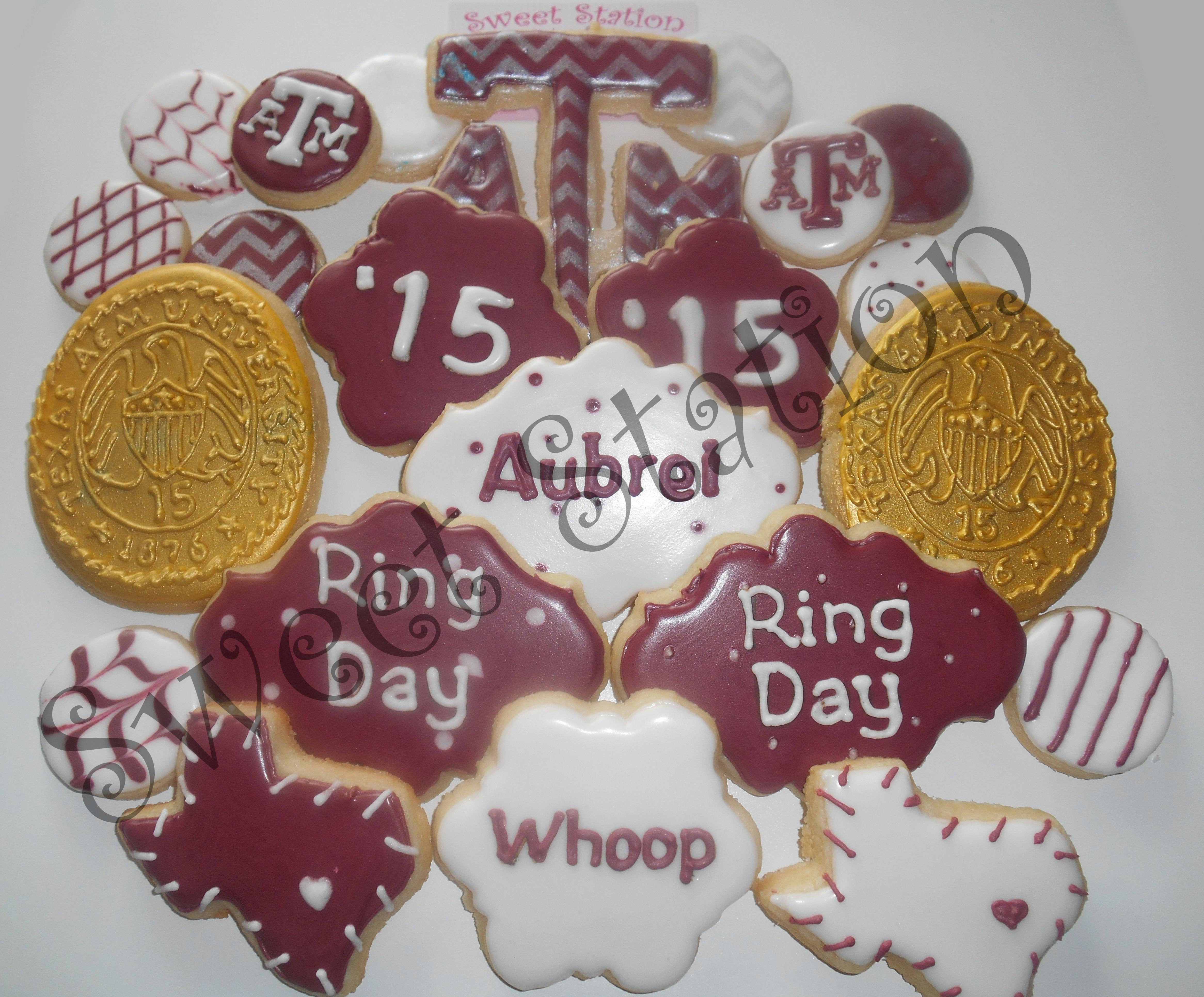 Aggie Ring Cookies by Sweet Station, College Station, TX 979-690-7502