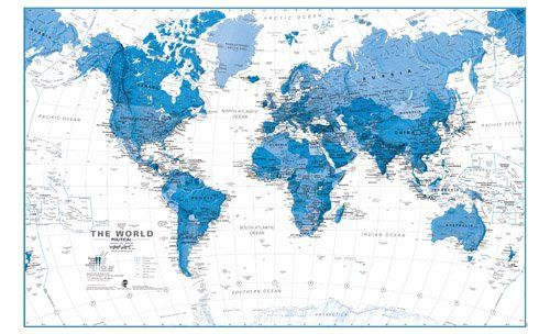 The world is art wall map blue laminated and pinboard mounted maps blue and white world map murali love wall map muralssomeday i ll have one in my house gumiabroncs Gallery