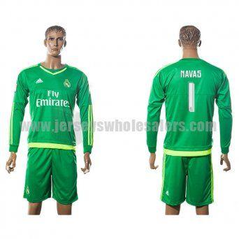 43d60ff77 Men s Real Madrid  1 Keylor Navas 15 16 Long Sleeves Away Goalkeeper Soccer  Jersey