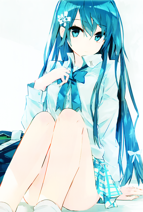 Blue Hair Anime School Uniform Eyes