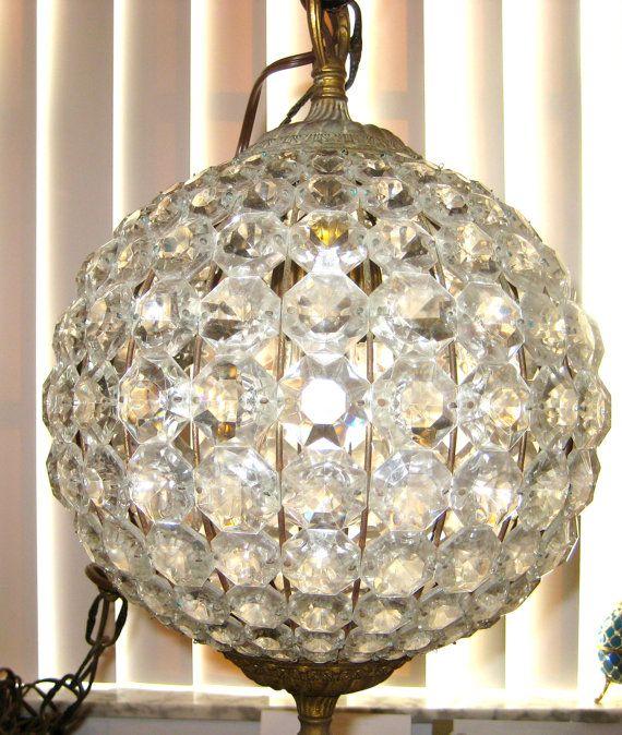 Vintage Chandelier Crystals Prisms Swag Lamp Crystal Ball Swag