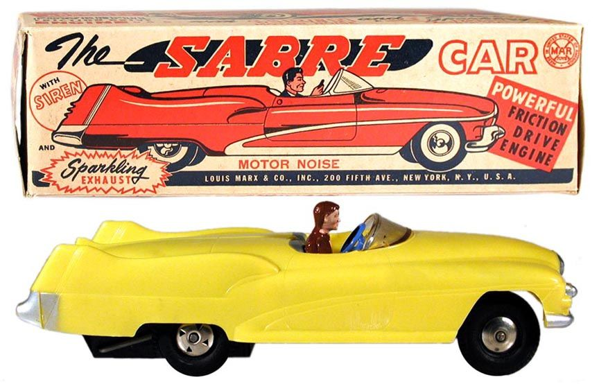 Vintage Tin Friction Drive 1953 Buick Toy Car