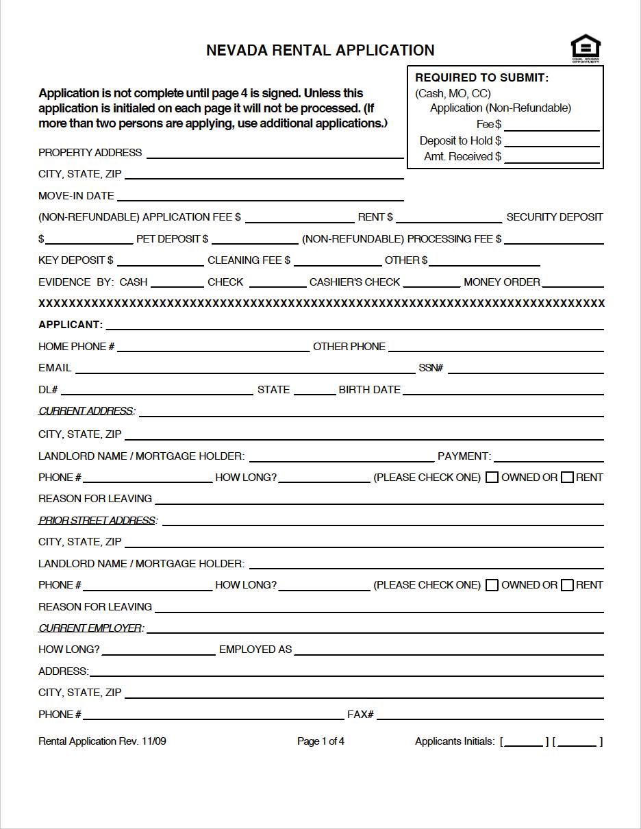 Nevada Rental Application Template Rental Application Lease Agreement Nevada