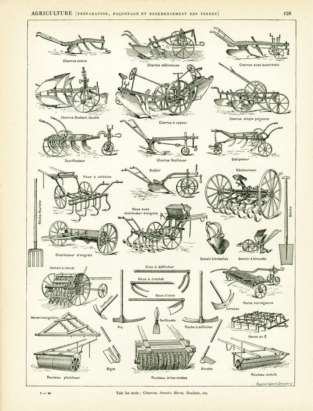 1897 materiel agricole ancien collection charrue semoir herse petit outillage illustration. Black Bedroom Furniture Sets. Home Design Ideas
