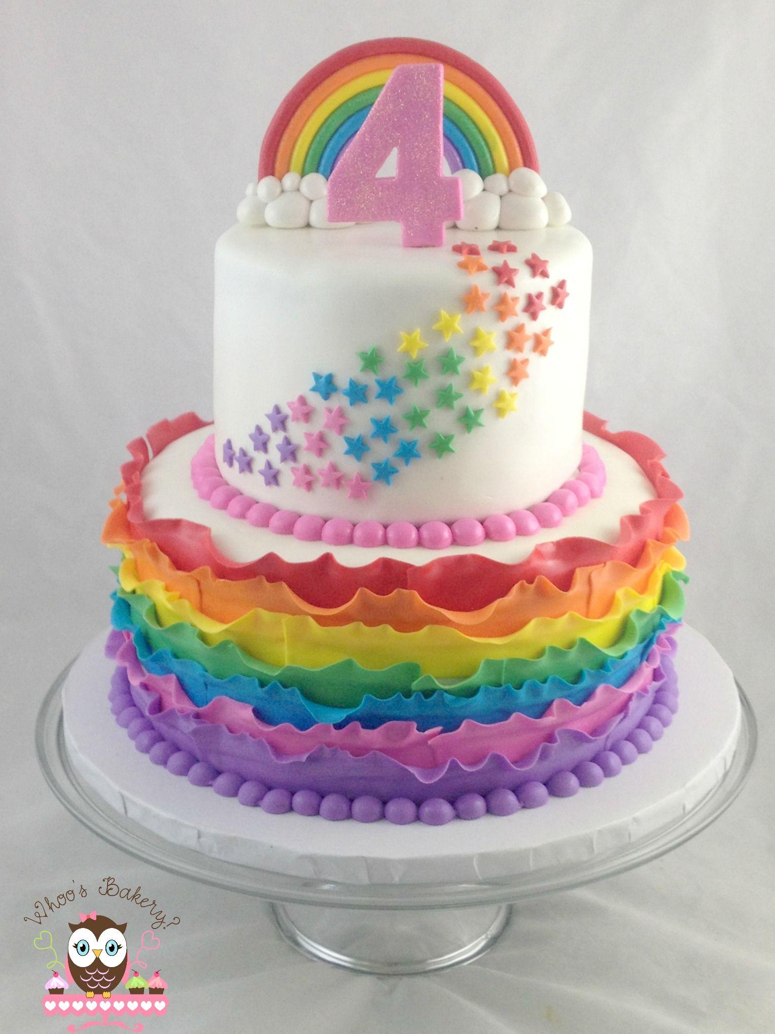 Rainbow Cake Ruffle Star