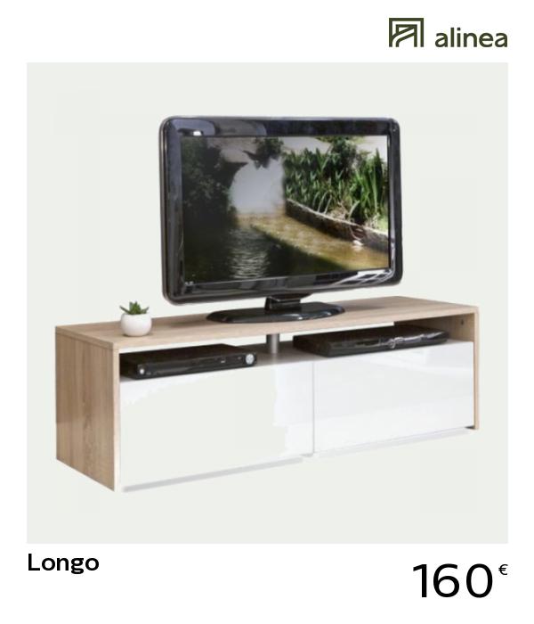 Meuble Tv Alinea Blanc.Alinea Longo Meuble Tv Coloris Blanc Et Chene 2 Tiroirs