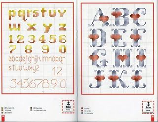 100%_ponto_cruz: another Heart CROSS STITCH alphabet chart
