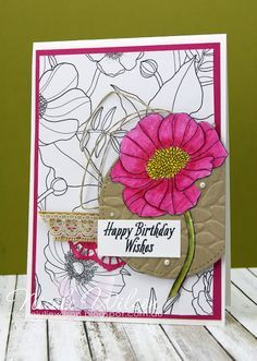 http://nicolejuliewilson.blogspot.com.au/ Stampin' Up! In The Lines DSP with watercolour pencils and the sentiment from Avant Garden... www.facebook.com/NicoleWilsonStamp #occasions #saleabration #stampinup #birthday #watercolour #CTC111