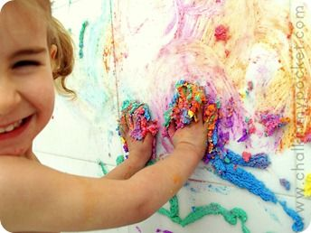 bathtub puffy paint with soap and watercolors!