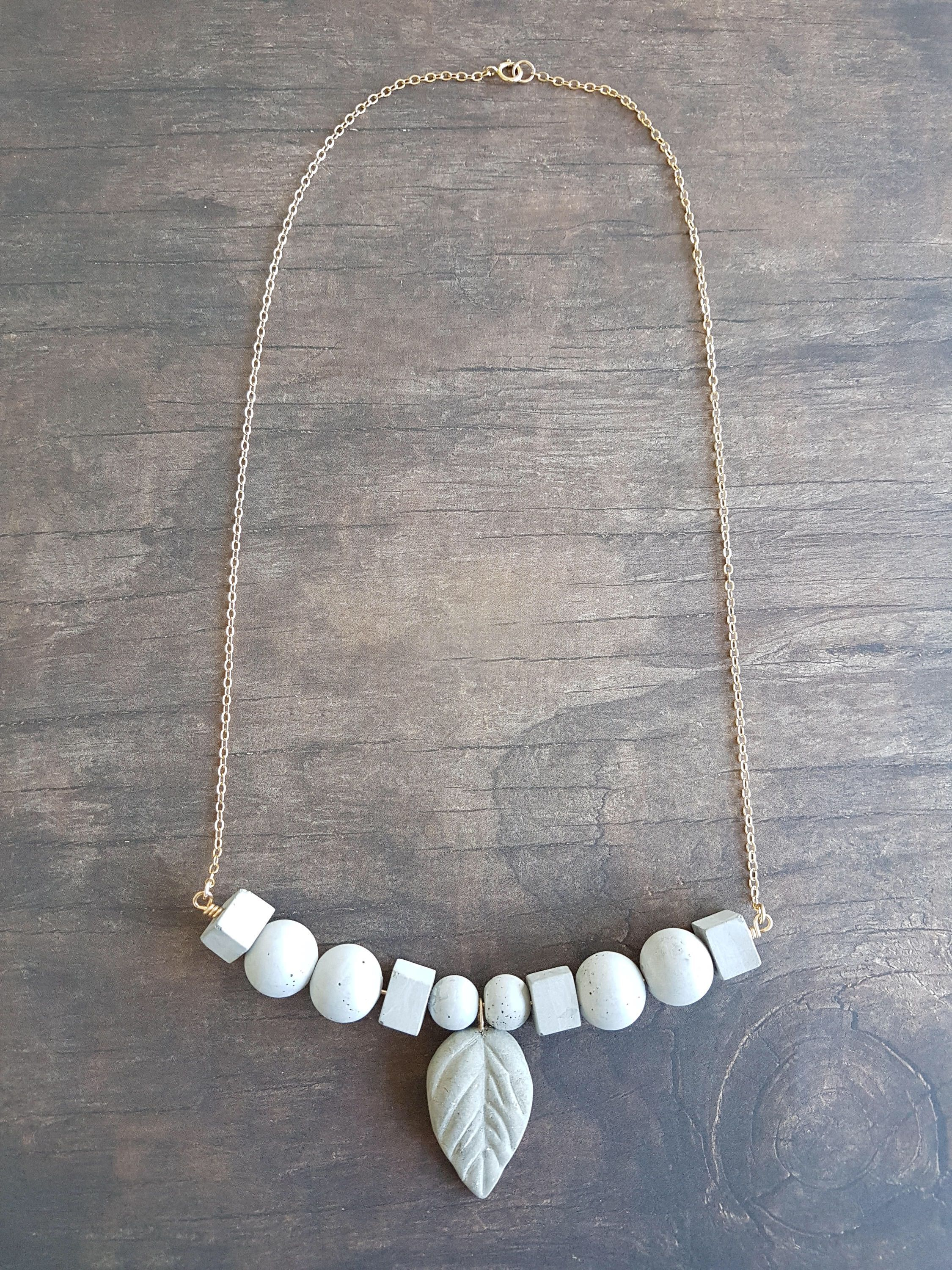 modern concrete contemporary jewelry cement pin necklace