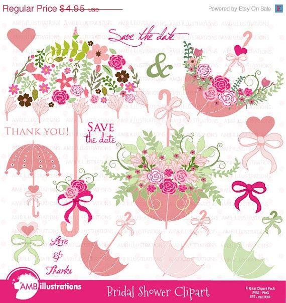 80 off bridal shower clipart wedding clipart floral clipart umbrella clipart commercial use digital clip art amb 871