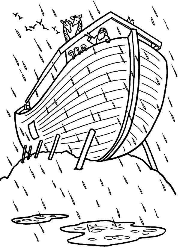 Noahs Ark Noah Talking To The Animal On His Ark Coloring Page