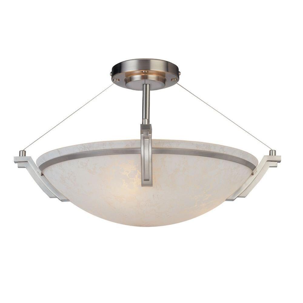 Filament Design Yeats 3-Light Satin Nickel Semi Flush Mount
