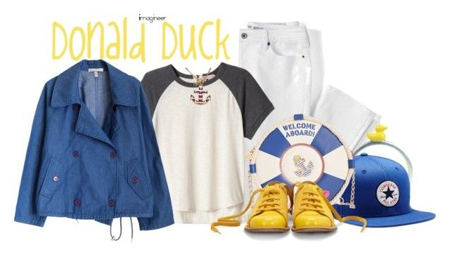 """""""Donald Duck (Fab Five & Co.)"""" by claucrasoda ❤ liked on Polyvore featuring Lands' End, Bug, Converse, Rebecca Taylor, Betsey Johnson, Bill Blass, Blu Bijoux and rainyday"""
