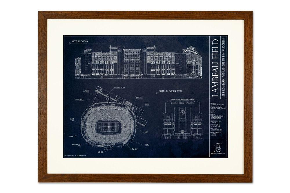 Lambeau Field Blueprint Style Print Green Bay Packers Baseball Wall Art Sports Wall Art Blueprints