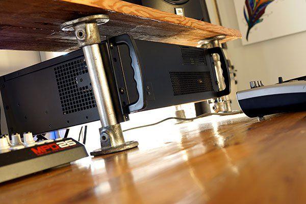 Rack Mount Computer Studio Desk Reclaimed Wood Diy Home Recording Studio Setup