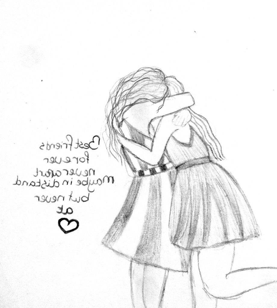 Pencil Sketch Of Girl Best Friends Easy Bestfriends Anime Sketches