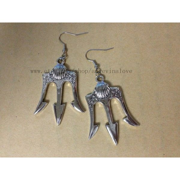 Poseidon - Percy Jackson Lightning Thief earrings Antiqued silver... ($7.38) ❤ liked on Polyvore featuring jewelry, earrings, percy jackson, silver earrings, silver jewellery and silver jewelry