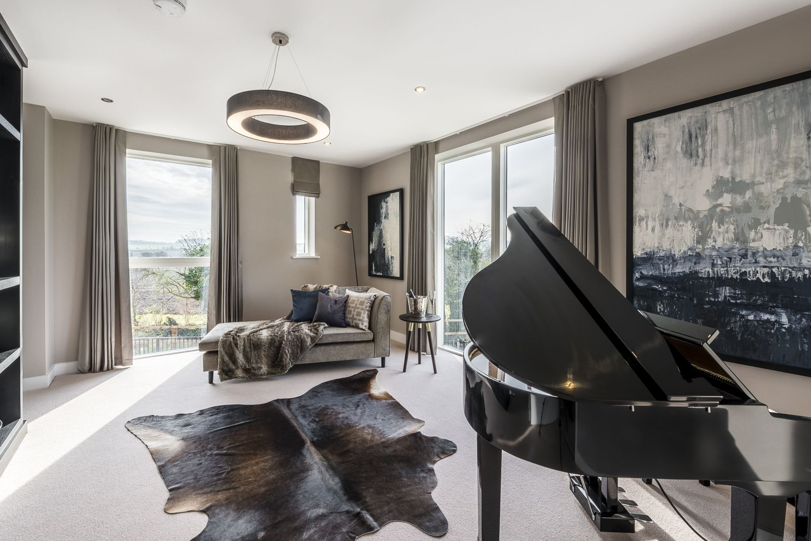 Warm and inviting chill out area with luxurious chaise longue draped with  faux fur throws, and stunning grand piano. Created by Artspace Interior  Design Ltd