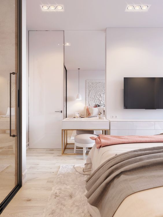 Pink White Is Another Concept Design Small Apartment In Kiev Custom Small Contemporary Bedrooms Concept Design