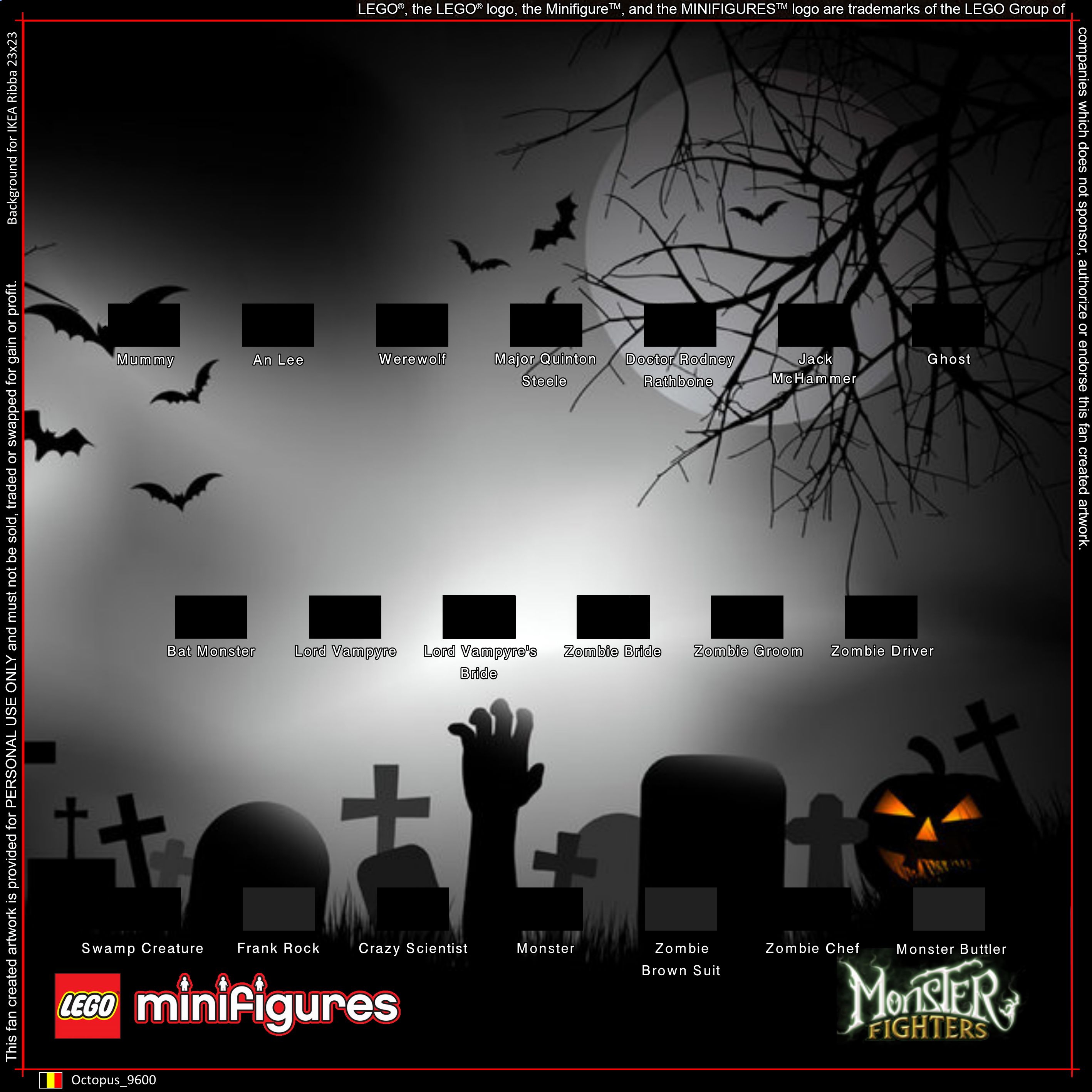 LEGO Monster Fighters Minifigures Background for IKEA Ribba 23x23 ...