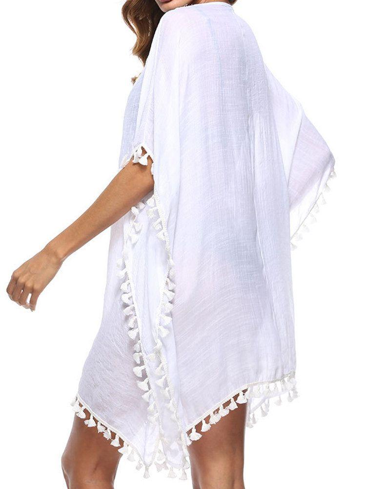 01e81b70bbbd9 Splice Beach Sunscreen Hollow Tassel Bikini Cover Ups Swimwear For Women
