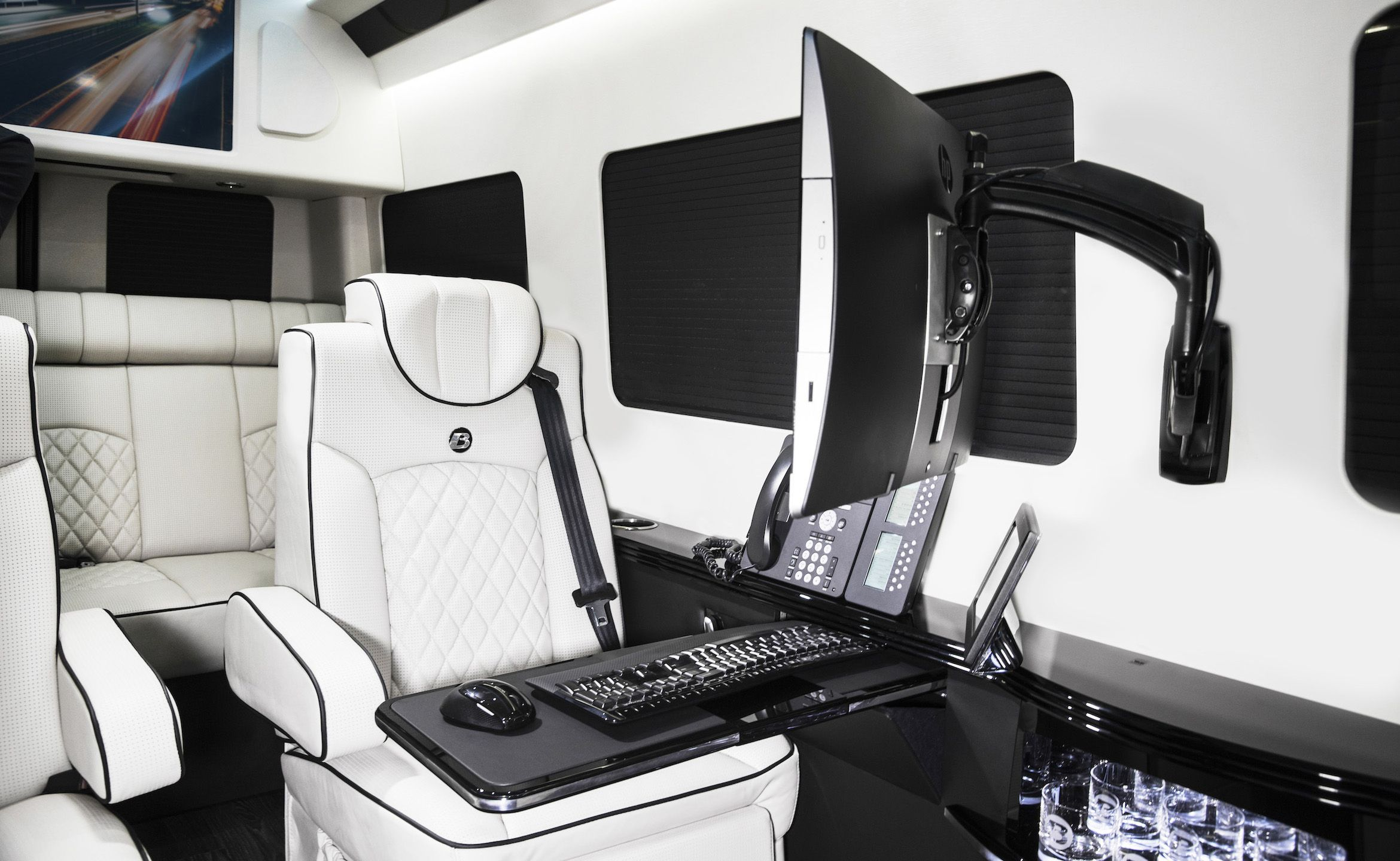 Ultimate Business Man Coach Custom Interior Mercedes Benz Sprinter Van Conversion Luxury Mobile Offices