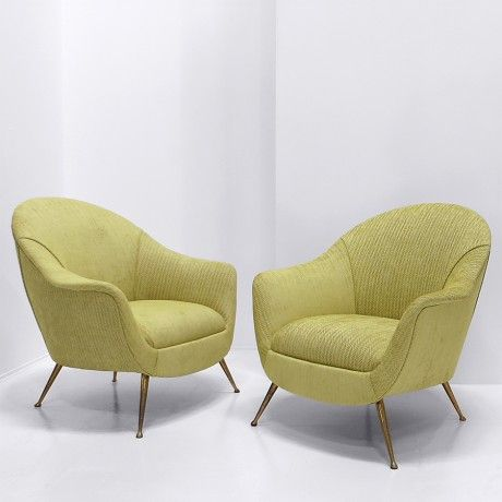 Chair, tv lounge chair. Pair of TV lounge chairs produced in Italy 1950s.