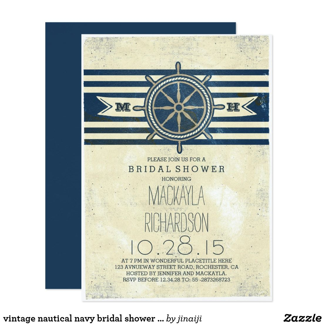 vintage nautical navy bridal shower invitation | Wedding : Nautical ...
