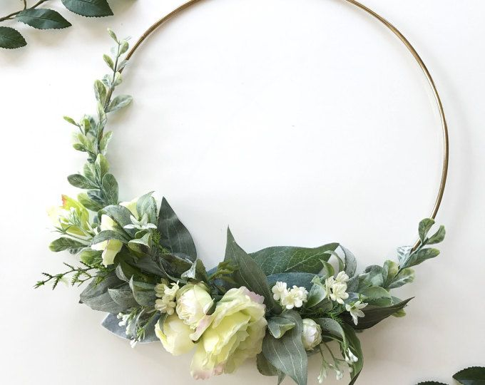 Photo of White Rose Floral Hoop Wreath Bouquet
