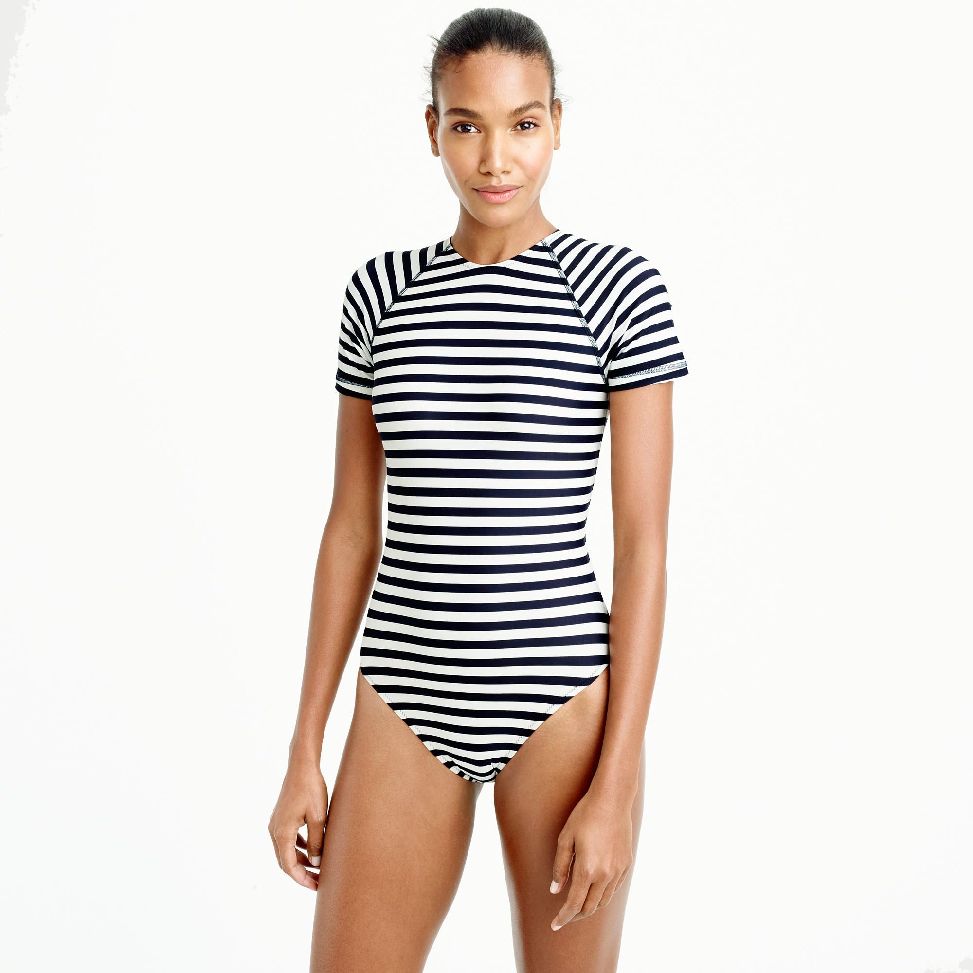 0ef74e7019233 Open-back short-sleeve swimsuit in classic stripe | the closet 2 ...