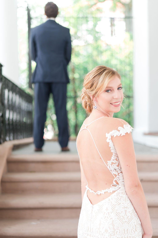 First Look Photo At The Charleston South Carolina Wedding Venue