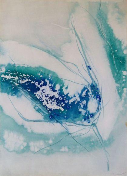 Blue liquid abstract, 58x42 cm