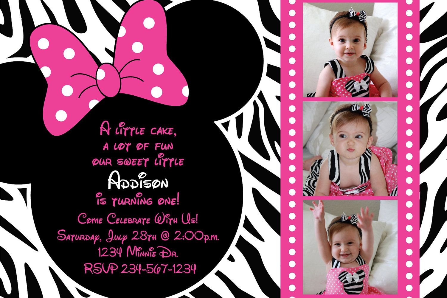 Minnie mouse zebra birthday party custom invitation or thank you minnie mouse zebra birthday party custom invitation or thank you card three picture option monicamarmolfo Images