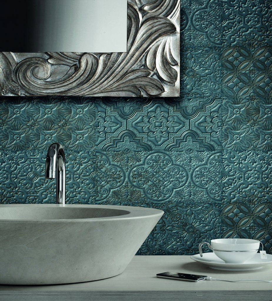 embossed decor teal 12cm x 24cm in 2020  teal walls wall