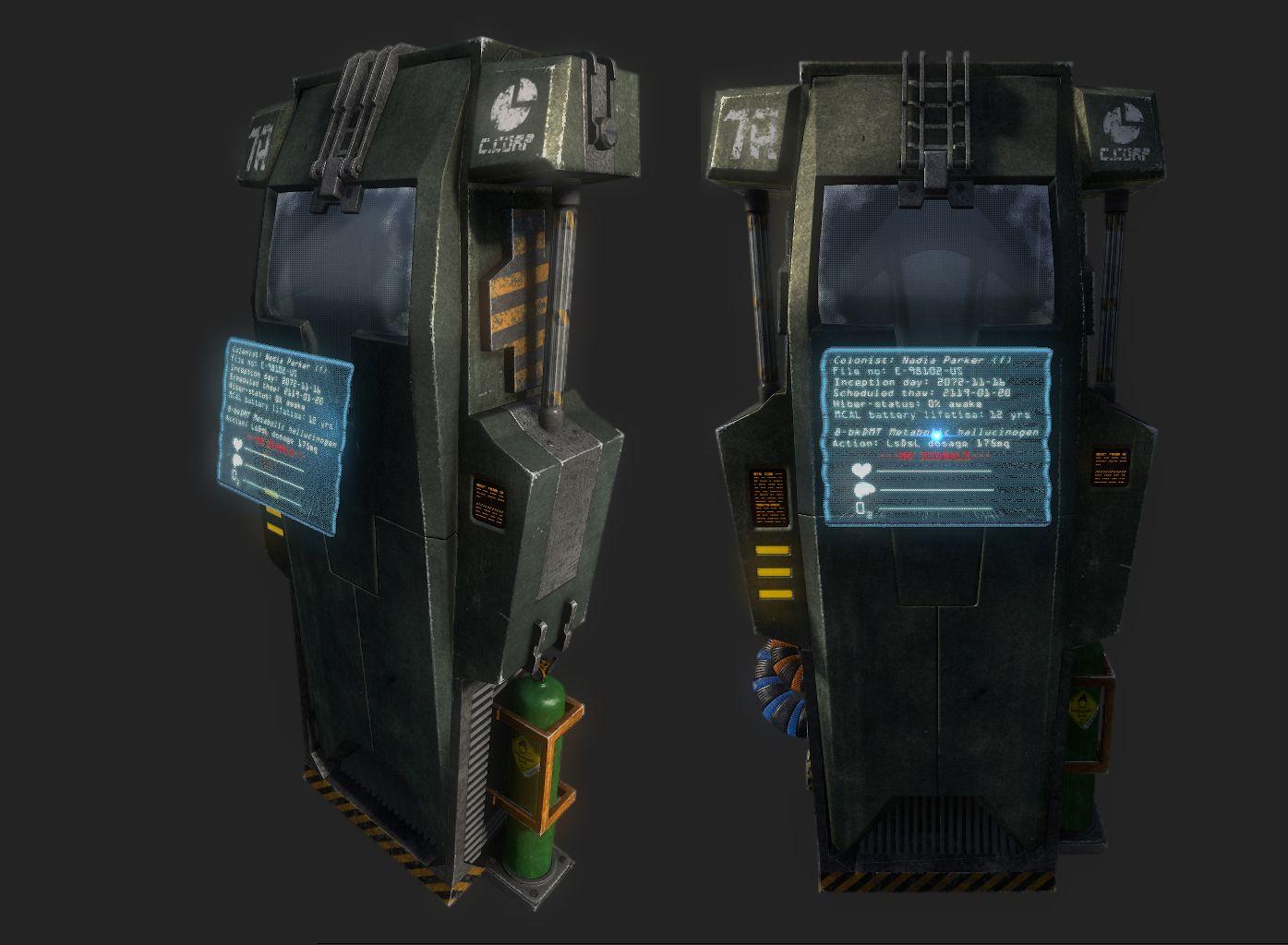 stasis chamber futuristic 3d obj