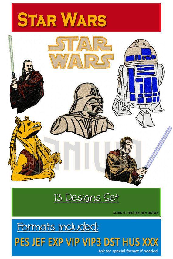 STAR WARS Embroidery Set 13 Designs Disney Darth by JaniwaDigital ...