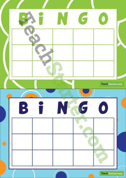 Blank Bingo Cards No Free Space  Teach Starter  Teaching Resources