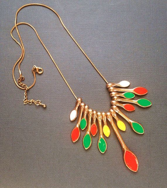 Colorful Enamel Necklace with Gold Chain. Orange, Green, yellow, and white enamel drop pendants hand from this gold chain. Chain has one small kink, otherwise in very good ... #necklaces