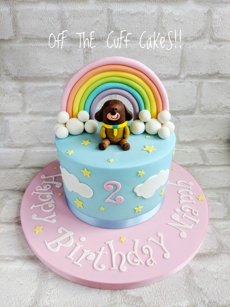 Hey Duggee pastel rainbow cake 1st birthday cakes