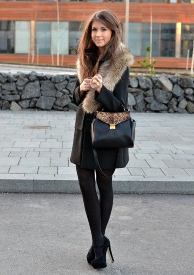 winter - fashion - coat - fur - black tights - going out