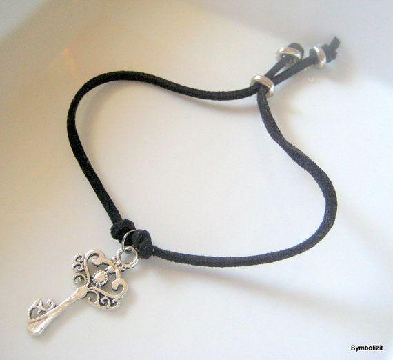 Silver key bracelet key charm bracelet black suede cord bracelet silver key bracelet key charm bracelet black suede cord bracelet key jewelry filigree pendant bracelet aloadofball Image collections