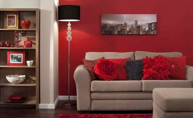 feature wall living room red - Google Search | Lounge ideas ...